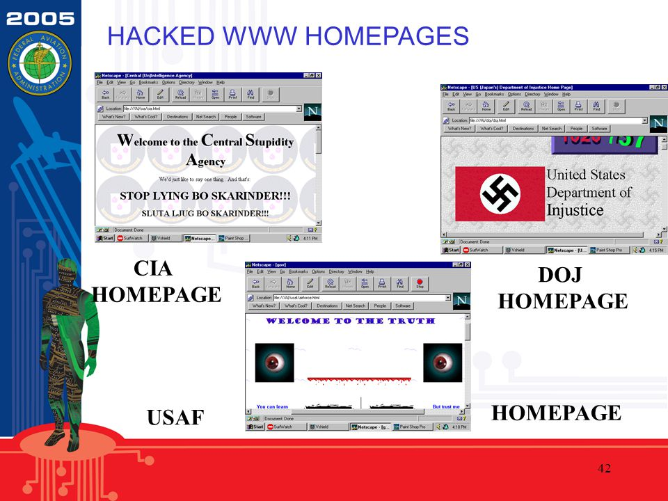 42 HACKED WWW HOMEPAGES CIA HOMEPAGE DOJ HOMEPAGE USAF HOMEPAGE