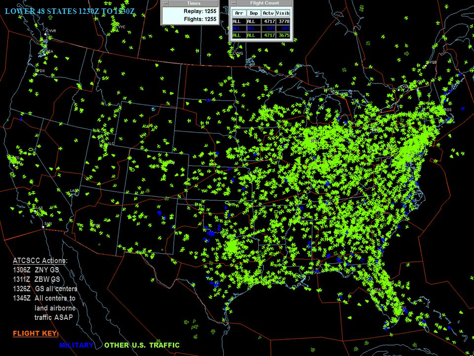 19 LOWER 48 STATES 1230Z TO 1530Z ATCSCC Actions: 1306Z ZNY GS 1311Z ZBW GS 1326Z GS all centers 1345Z All centers to land airborne traffic ASAP FLIGHT KEY: MILITARY OTHER U.S.