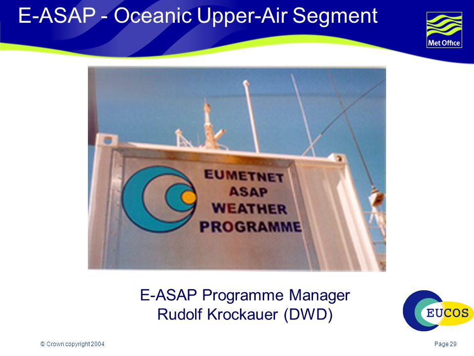 Page 29© Crown copyright 2004 E-ASAP - Oceanic Upper-Air Segment E-ASAP Programme Manager Rudolf Krockauer (DWD)