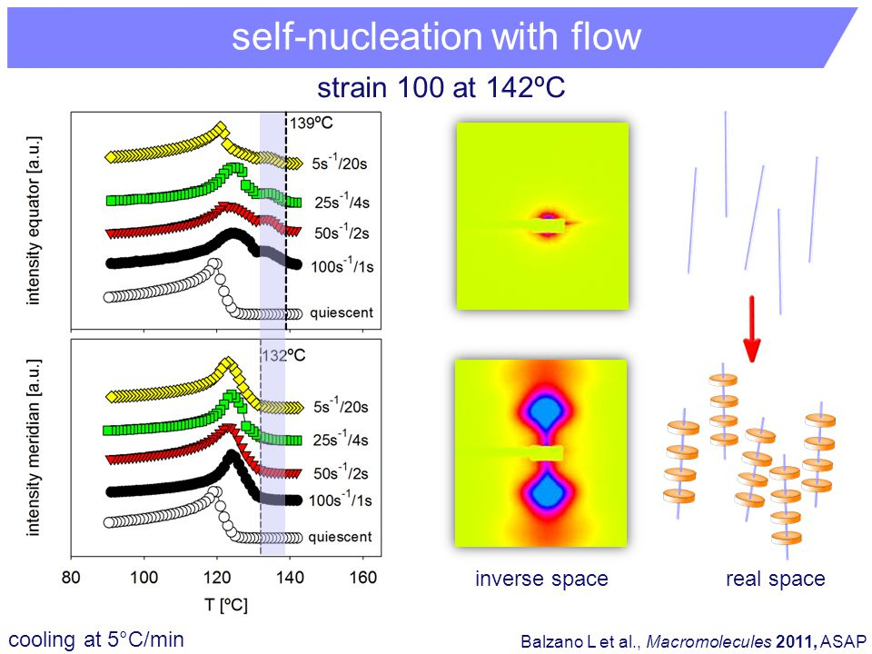 cooling at 5°C/min Balzano L et al., Macromolecules 2011, ASAP inverse spacereal space strain 100 at 142ºC self-nucleation with flow