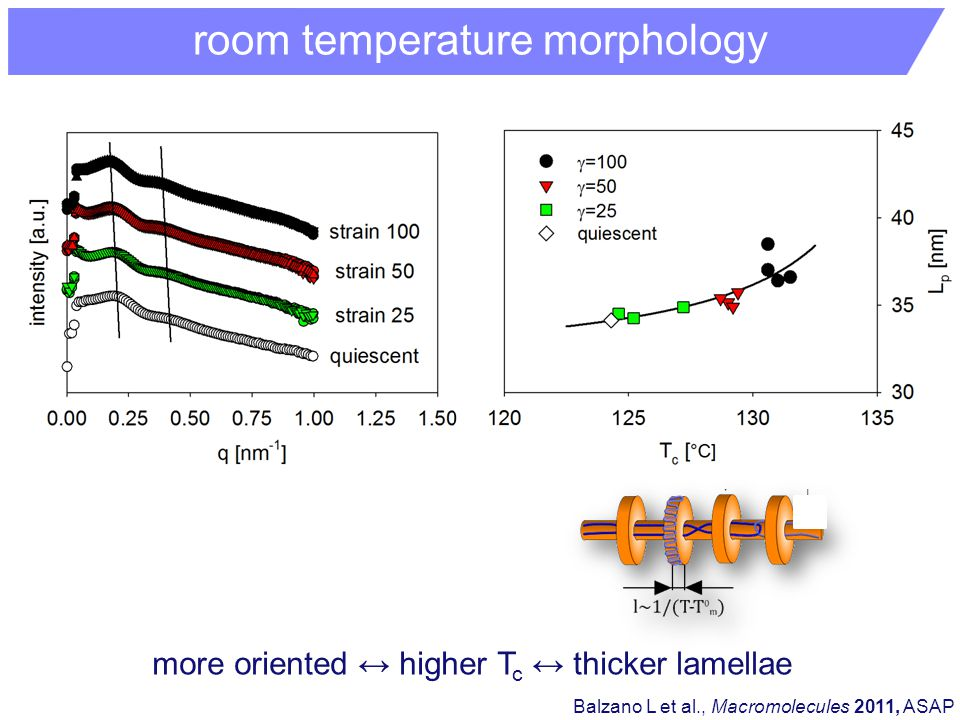 room temperature morphology Balzano L et al., Macromolecules 2011, ASAP more oriented ↔ higher T c ↔ thicker lamellae