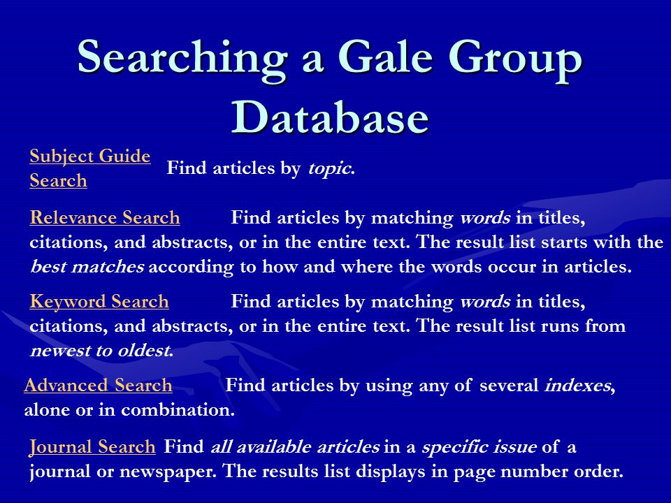 Searching a Gale Group Database Subject Guide Search Find articles by topic.