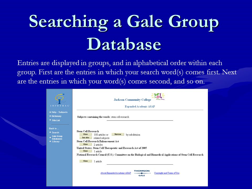 Searching a Gale Group Database Entries are displayed in groups, and in alphabetical order within each group.