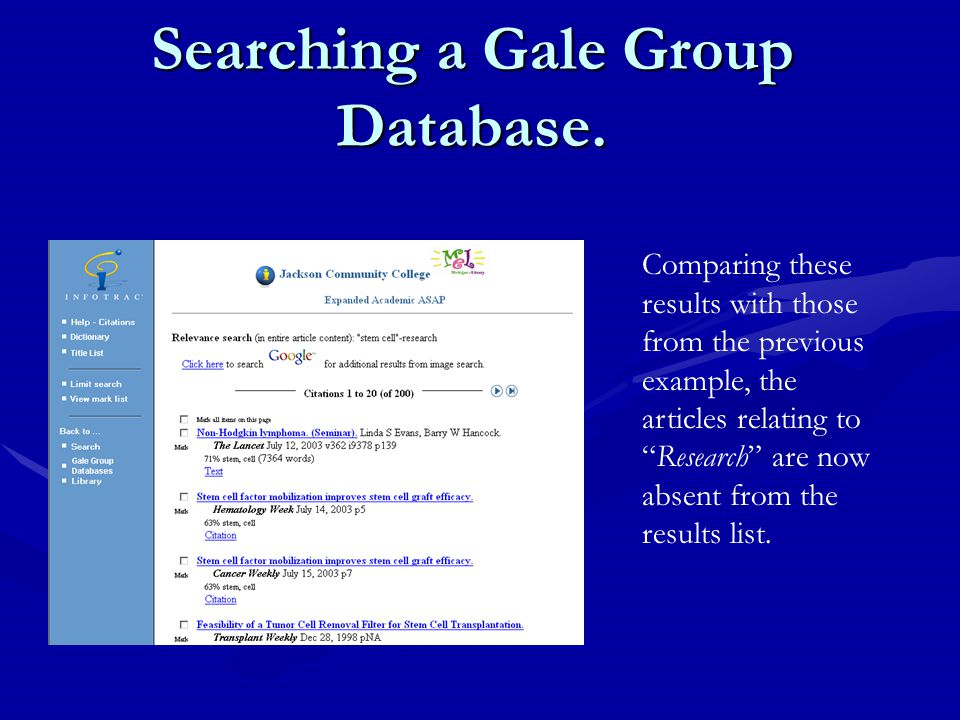 Searching a Gale Group Database.