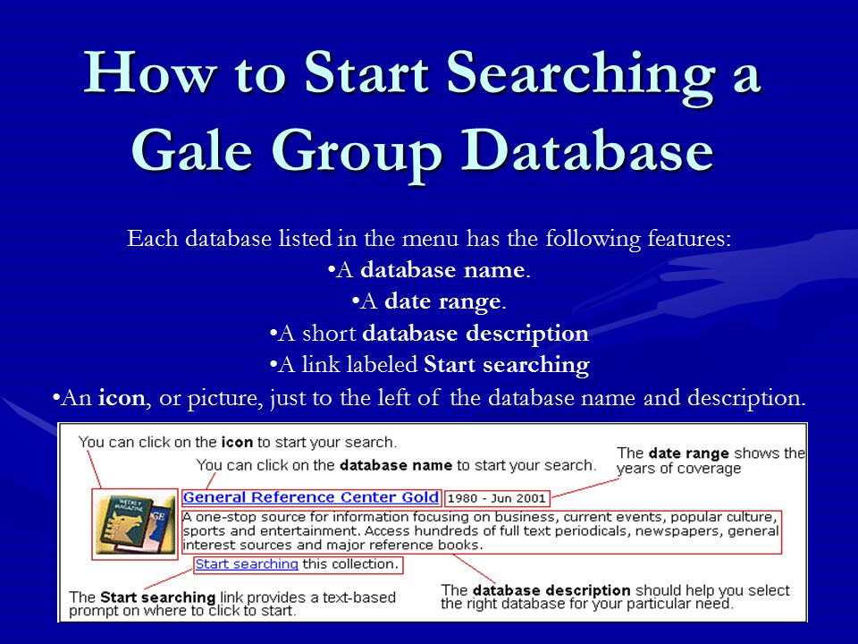 Each database listed in the menu has the following features: A database name.