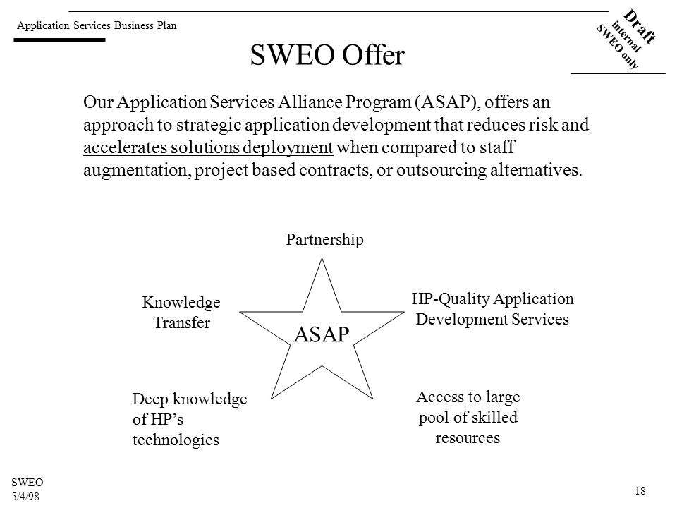 Application Services Business Plan Draft internal SWEO only SWEO 5/4/98 18 SWEO Offer Our Application Services Alliance Program (ASAP), offers an approach to strategic application development that reduces risk and accelerates solutions deployment when compared to staff augmentation, project based contracts, or outsourcing alternatives.