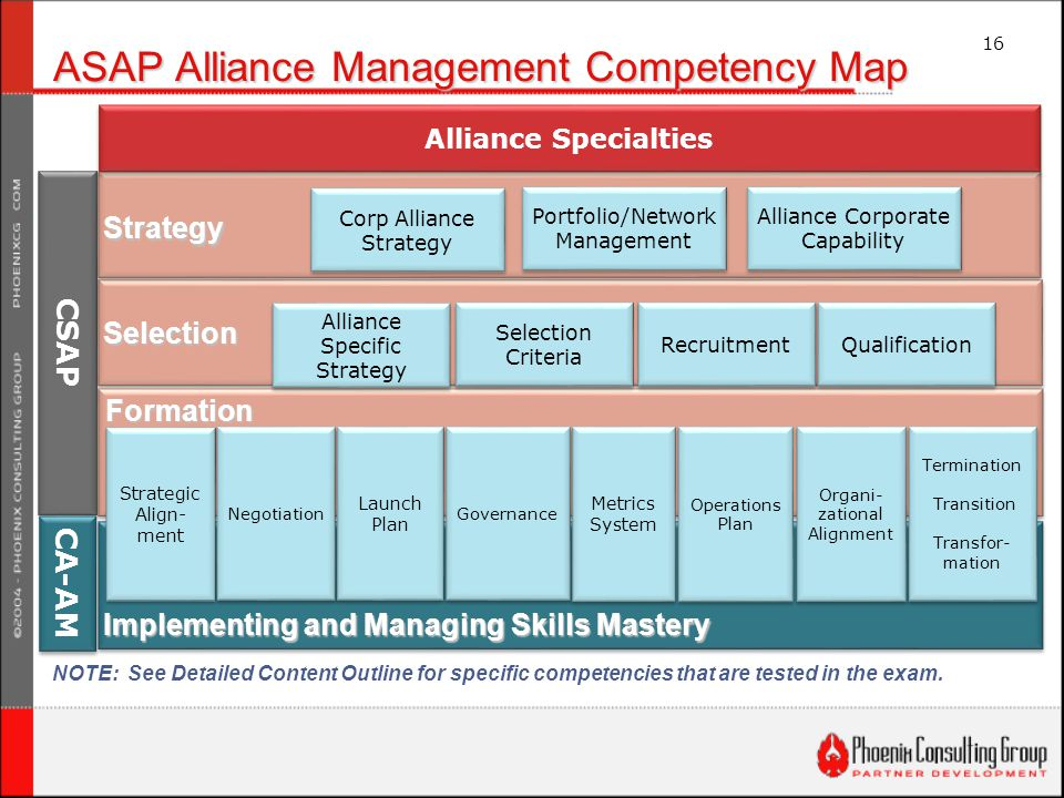 16 ASAP Alliance Management Competency Map Strategic Align- ment Strategic Align- ment Corp Alliance Strategy Alliance Corporate Capability Portfolio/