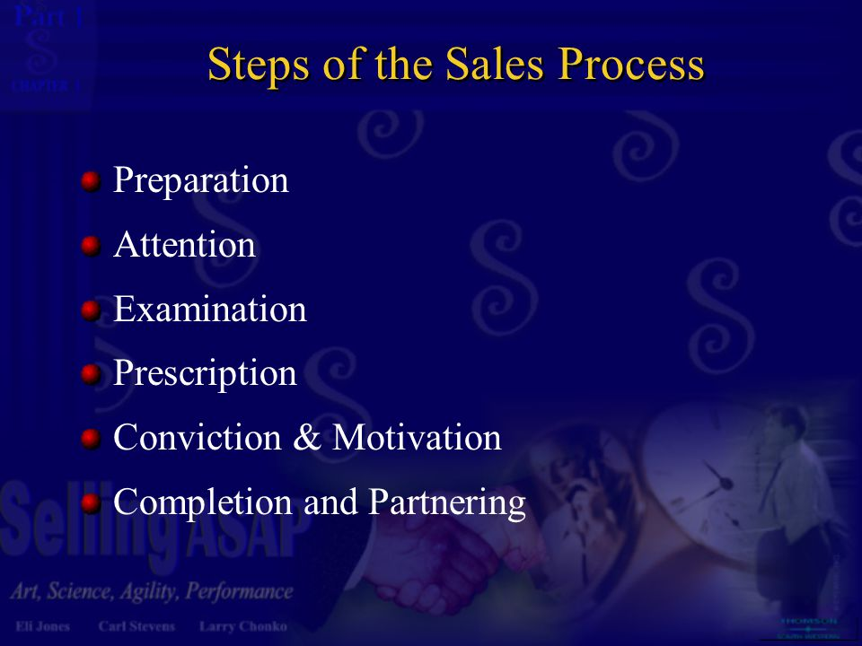 1 1 Steps of the Sales Process Preparation Attention Examination Prescription Conviction & Motivation Completion and Partnering