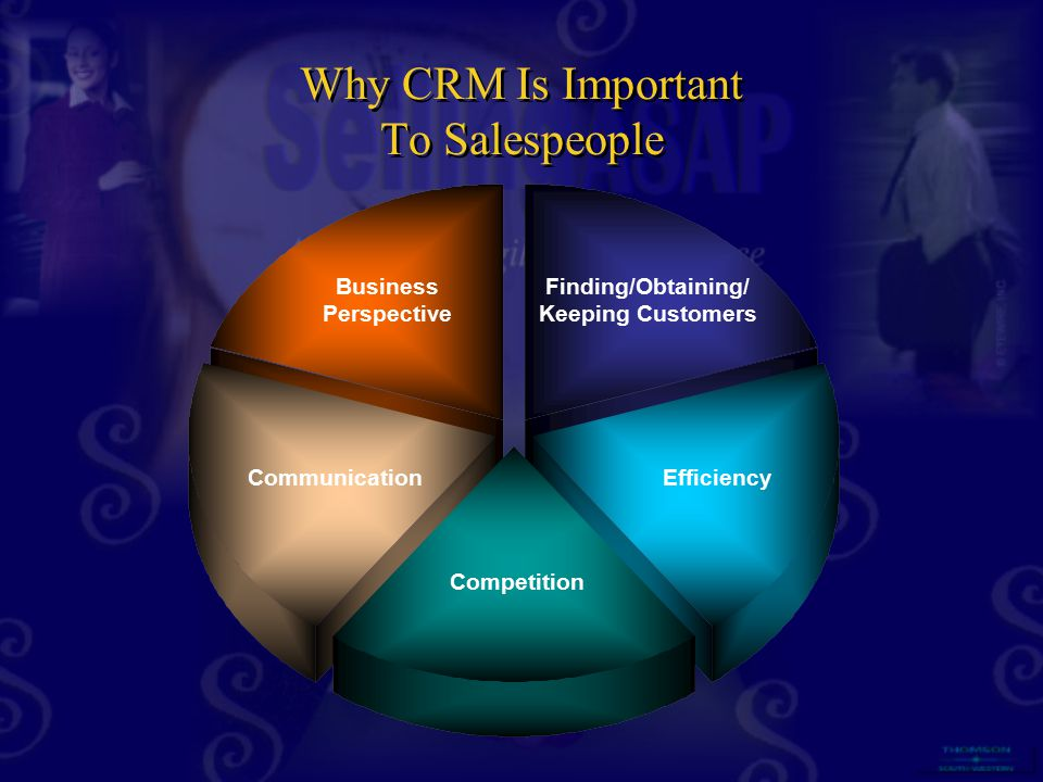 Business Perspective Finding/Obtaining/ Keeping Customers Efficiency Competition Communication Why CRM Is Important To Salespeople