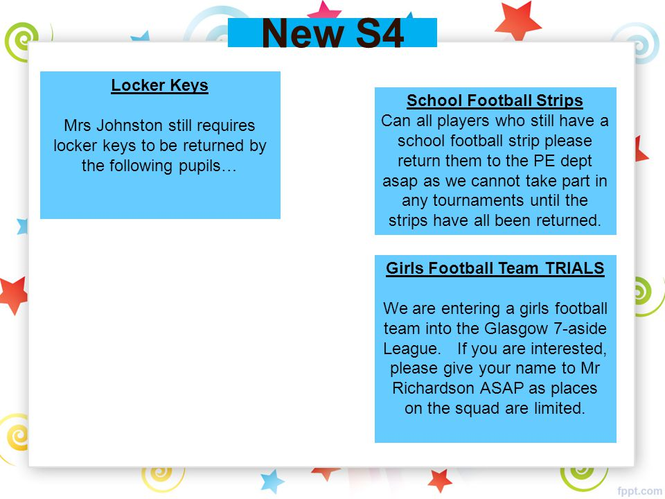New S4 School Football Strips Can all players who still have a school football strip please return them to the PE dept asap as we cannot take part in any tournaments until the strips have all been returned.