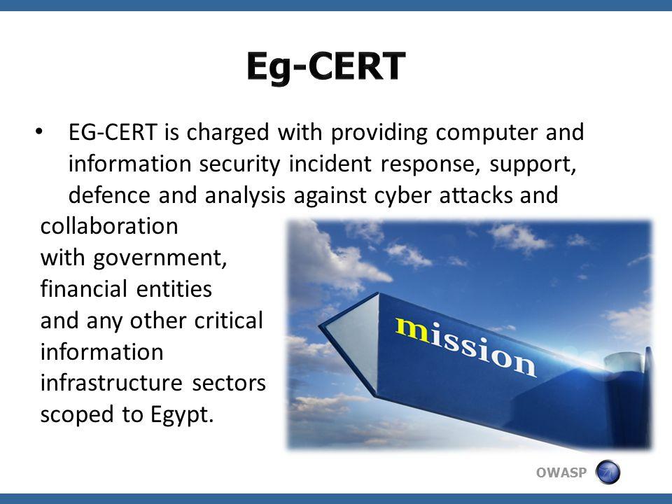 OWASP Established 0n April 2009. Under Egyptian National Telecom Regulatory Authority (NTRA)