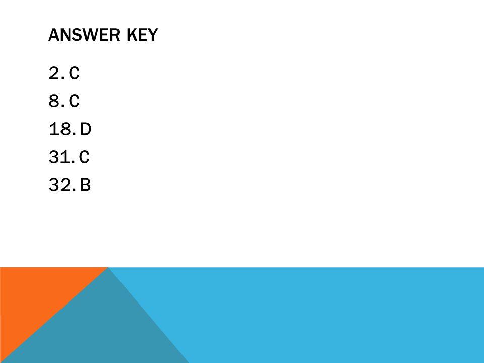 ANSWER KEY 2. C 8. C 18. D 31. C 32. B