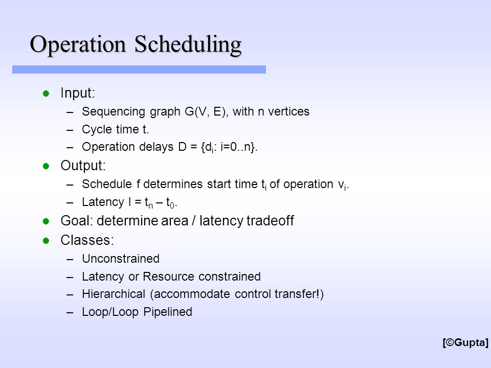 Operation Scheduling Input: –Sequencing graph G(V, E), with n vertices –Cycle time t.