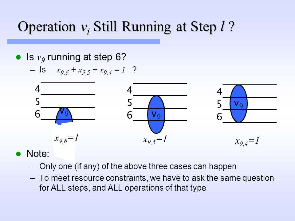 Operation v i Still Running at Step l .Is v 9 running at step 6.