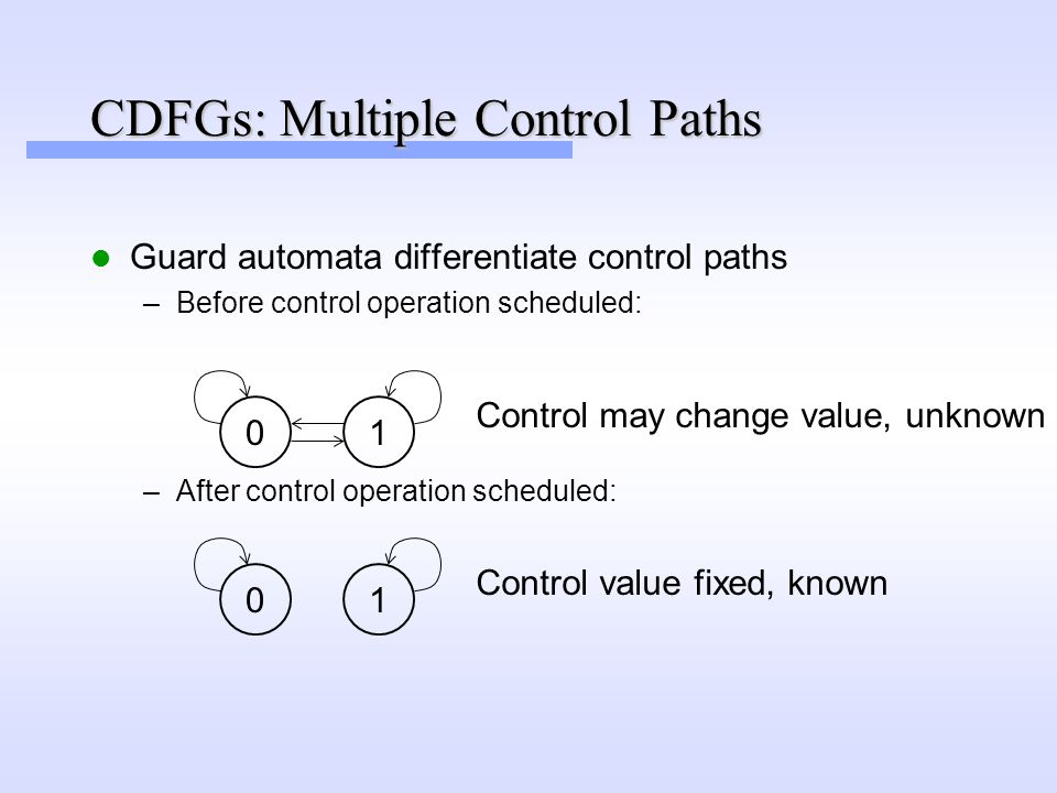 CDFGs: Multiple Control Paths Guard automata differentiate control paths –Before control operation scheduled: 01 Control may change value, unknown –After control operation scheduled: 01 Control value fixed, known