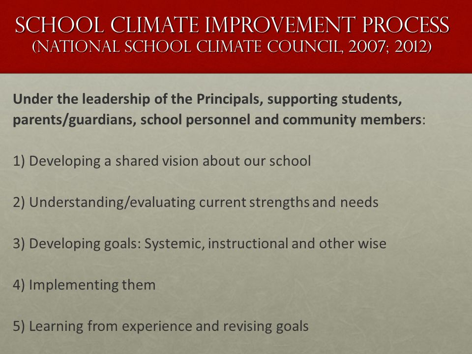 School climate improvement process (National School Climate Council, 2007; 2012) Under the leadership of the Principals, supporting students, parents/guardians, school personnel and community members: 1) Developing a shared vision about our school 2) Understanding/evaluating current strengths and needs 3) Developing goals: Systemic, instructional and other wise 4) Implementing them 5) Learning from experience and revising goals