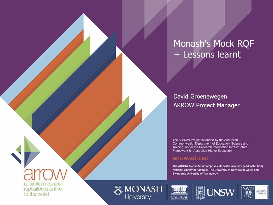 Monash s Mock RQF − Lessons learnt David Groenewegen ARROW Project Manager