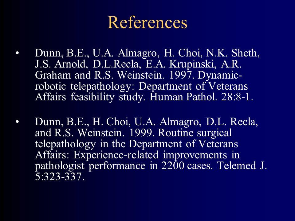 References Dunn, B.E., U.A. Almagro, H. Choi, N.K. Sheth, J.S. Arnold, D.L.Recla, E.A. Krupinski, A.R. Graham and R.S. Weinstein. 1997. Dynamic- robot