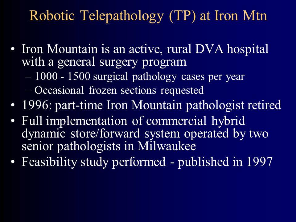 Robotic Telepathology (TP) at Iron Mtn Iron Mountain is an active, rural DVA hospital with a general surgery program –1000 - 1500 surgical pathology c