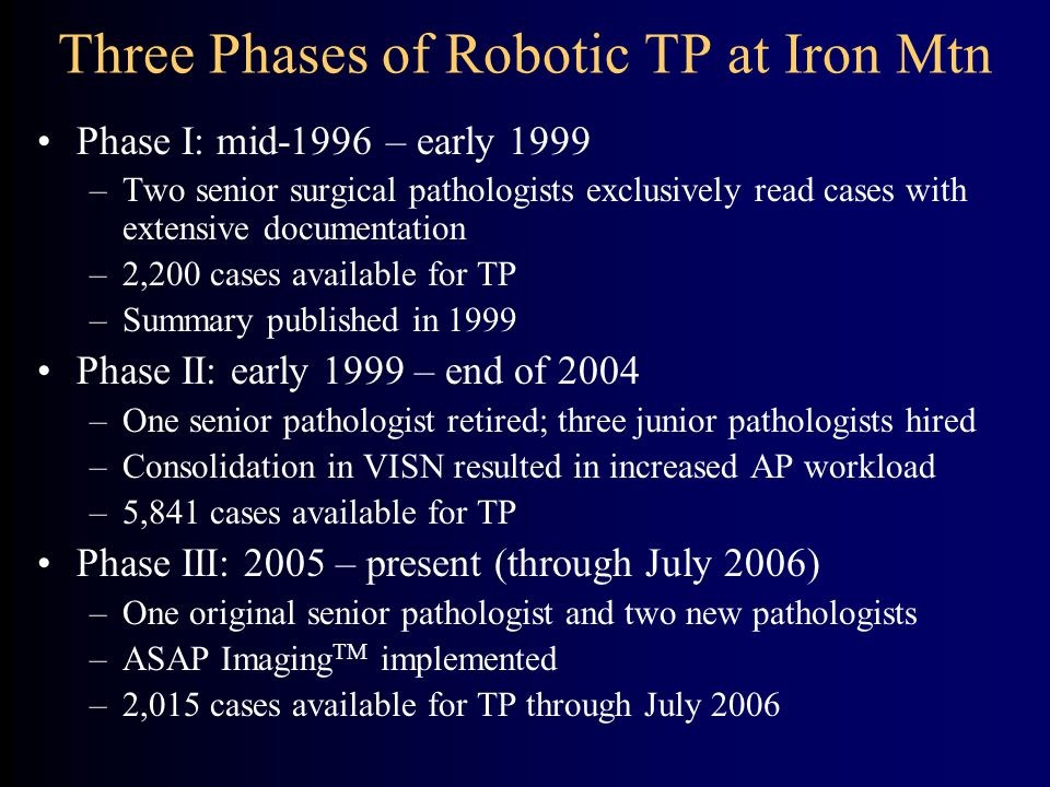 Three Phases of Robotic TP at Iron Mtn Phase I: mid-1996 – early 1999 –Two senior surgical pathologists exclusively read cases with extensive documentation –2,200 cases available for TP –Summary published in 1999 Phase II: early 1999 – end of 2004 –One senior pathologist retired; three junior pathologists hired –Consolidation in VISN resulted in increased AP workload –5,841 cases available for TP Phase III: 2005 – present (through July 2006) –One original senior pathologist and two new pathologists –ASAP Imaging TM implemented –2,015 cases available for TP through July 2006