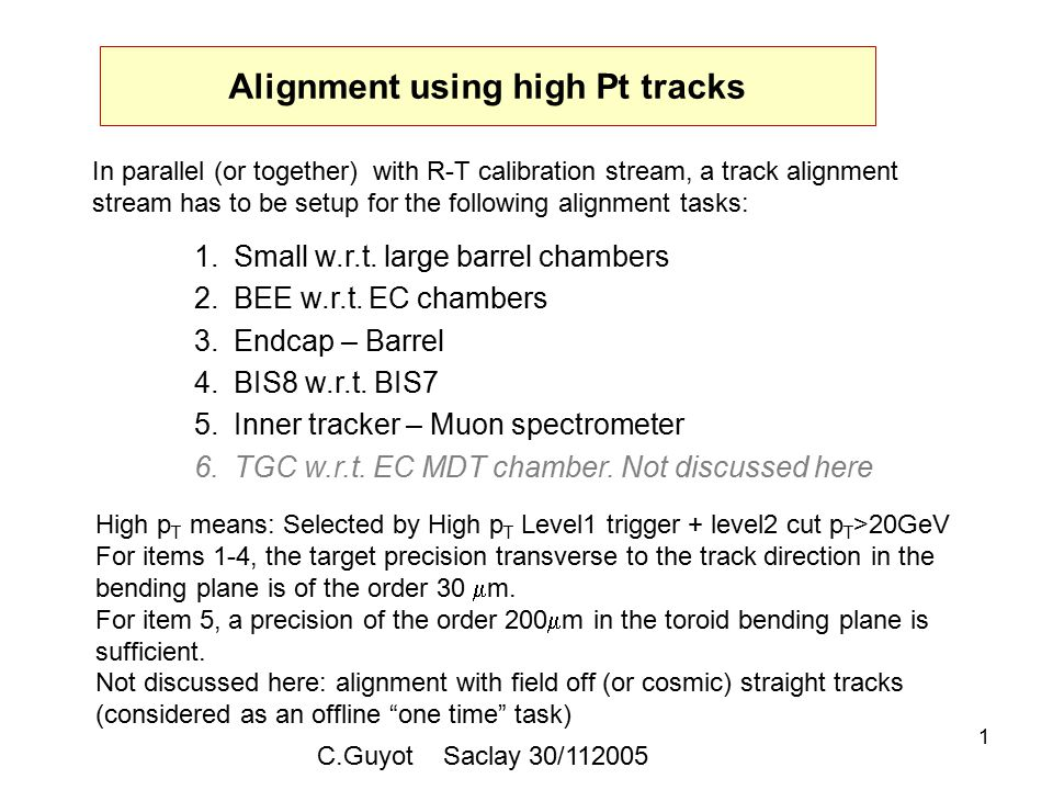 1 Alignment using high Pt tracks 1.Small w.r.t. large barrel chambers 2.BEE w.r.t.