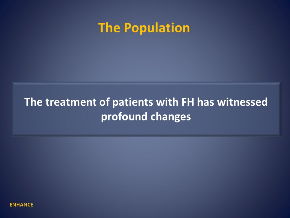 The treatment of patients with FH has witnessed profound changes The Population