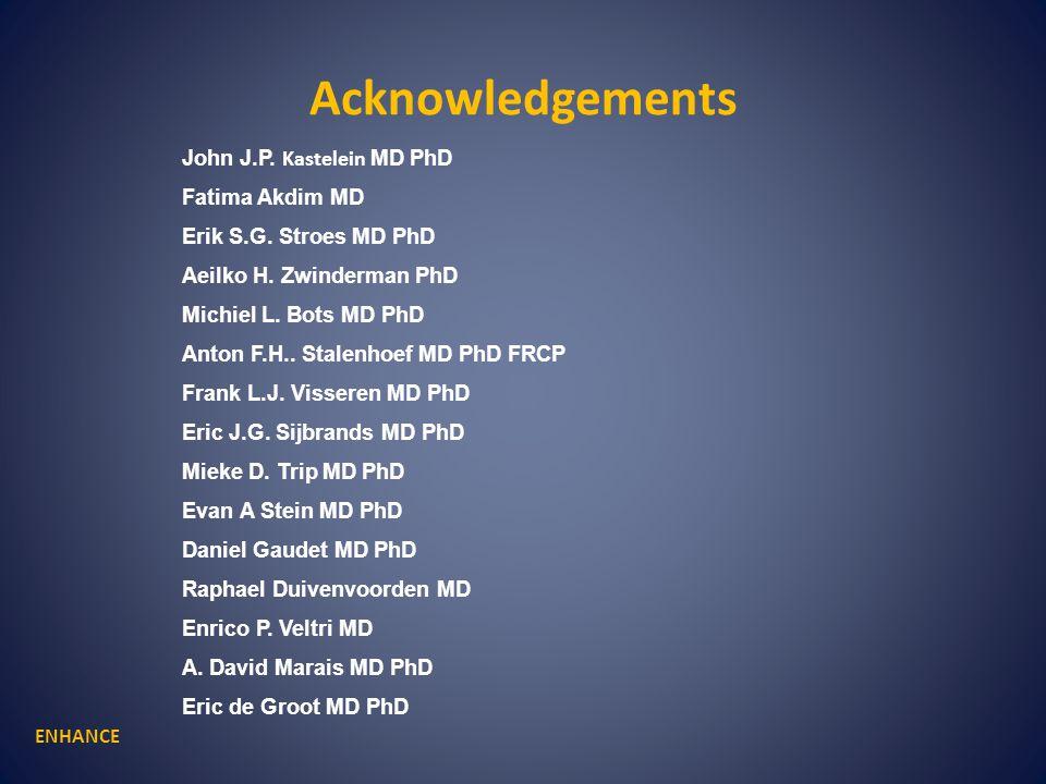 Acknowledgements ENHANCE John J.P. Kastelein MD PhD Fatima Akdim MD Erik S.G. Stroes MD PhD Aeilko H. Zwinderman PhD Michiel L. Bots MD PhD Anton F.H.