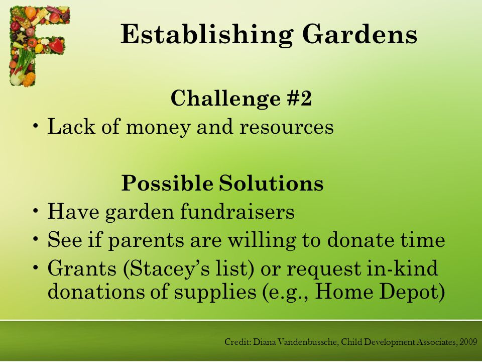 Challenge #2 Lack of money and resources Possible Solutions Have garden fundraisers See if parents are willing to donate time Grants (Stacey's list) or request in-kind donations of supplies (e.g., Home Depot) Establishing Gardens Credit: Diana Vandenbussche, Child Development Associates, 2009