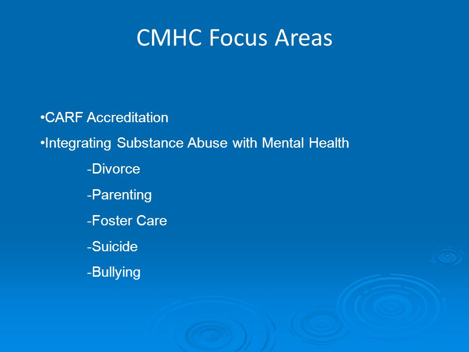 CMHC Focus Areas CARF Accreditation Integrating Substance Abuse with Mental Health -Divorce -Parenting -Foster Care -Suicide -Bullying