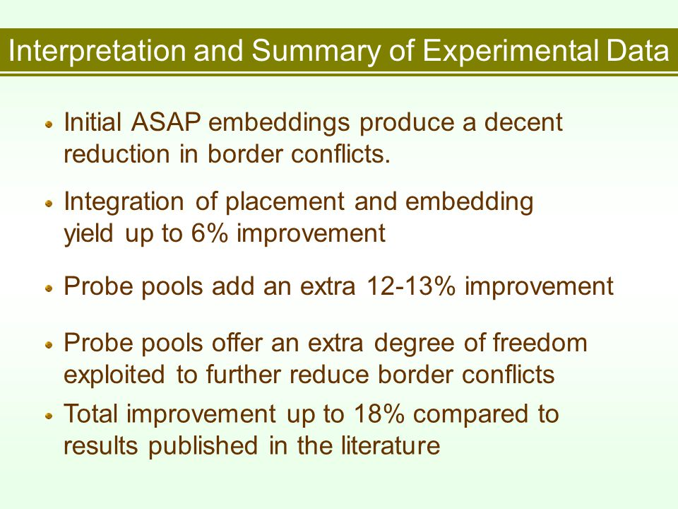 Interpretation and Summary of Experimental Data Initial ASAP embeddings produce a decent reduction in border conflicts.