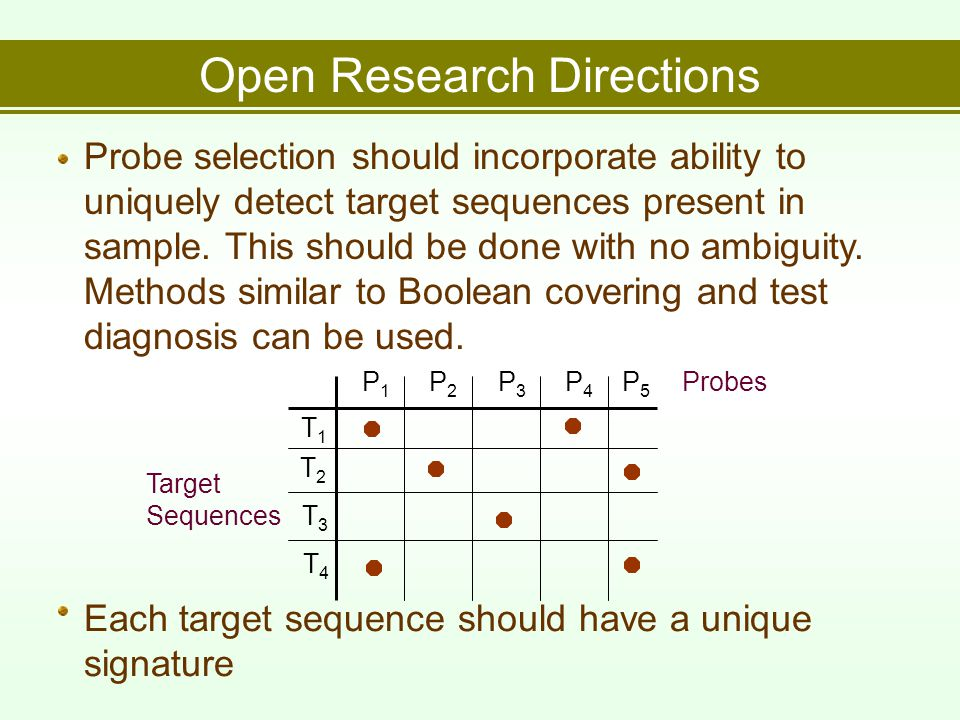 Open Research Directions Probe selection should incorporate ability to uniquely detect target sequences present in sample.