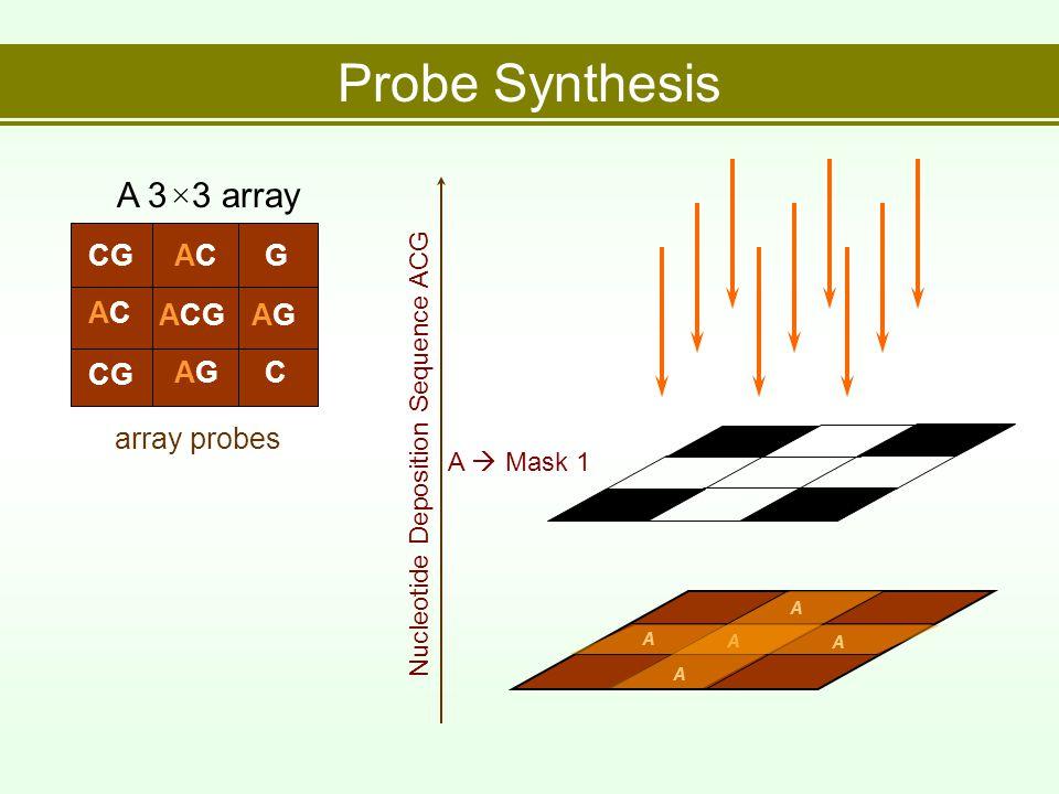 Probe Synthesis array probes A 3×3 array CGACACG ACAC ACGAGAG CG AGAGC Nucleotide Deposition Sequence ACG A  Mask 1 A A A A A