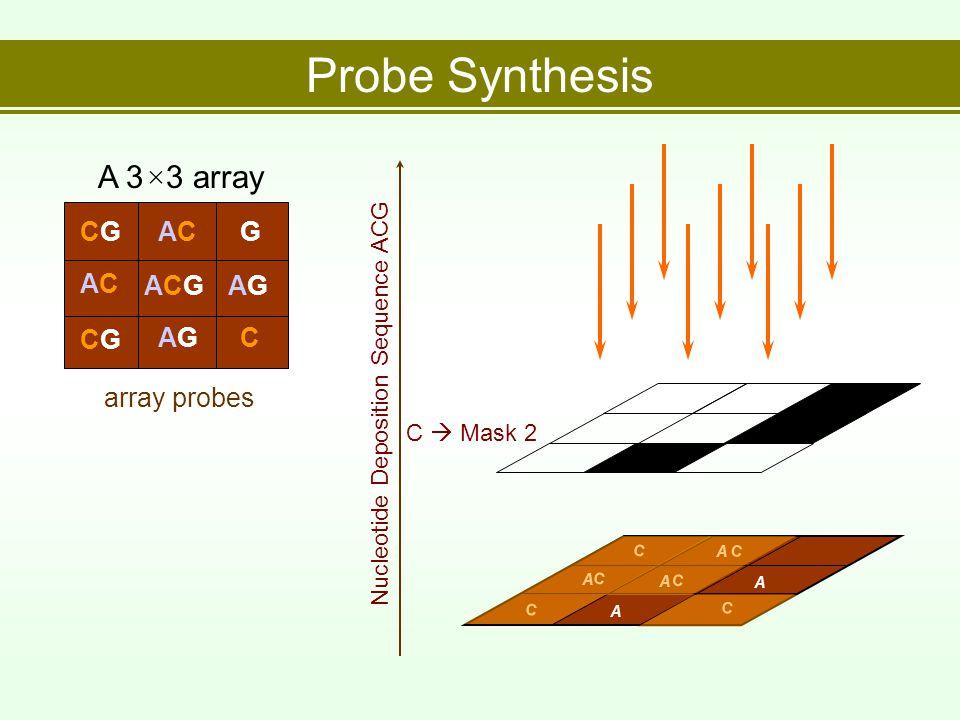 Probe Synthesis array probes A 3×3 array CGCGACACG ACAC ACGACGAGAG CGCG AGAGC Nucleotide Deposition Sequence ACG C  Mask 2 C C C C C C A A A A A