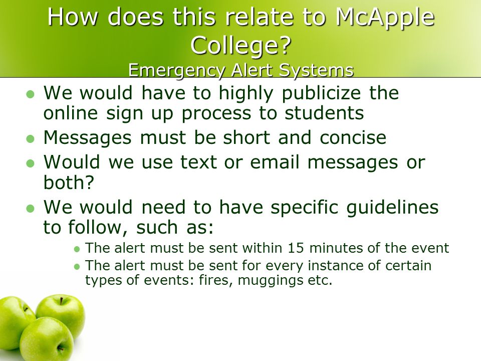 How does this relate to McApple College.