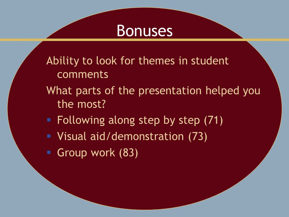Bonuses Ability to look for themes in student comments What parts of the presentation helped you the most.