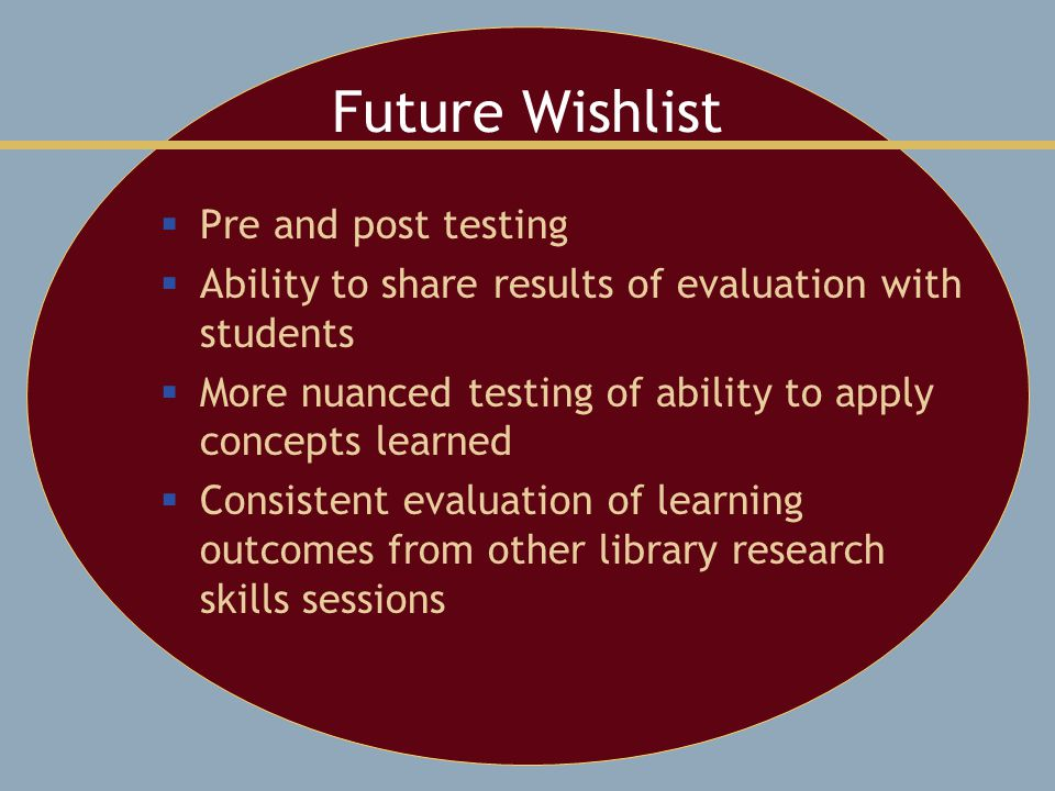 Future Wishlist  Pre and post testing  Ability to share results of evaluation with students  More nuanced testing of ability to apply concepts learned  Consistent evaluation of learning outcomes from other library research skills sessions