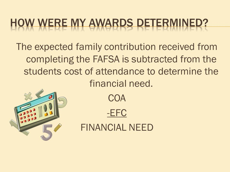 The expected family contribution received from completing the FAFSA is subtracted from the students cost of attendance to determine the financial need.