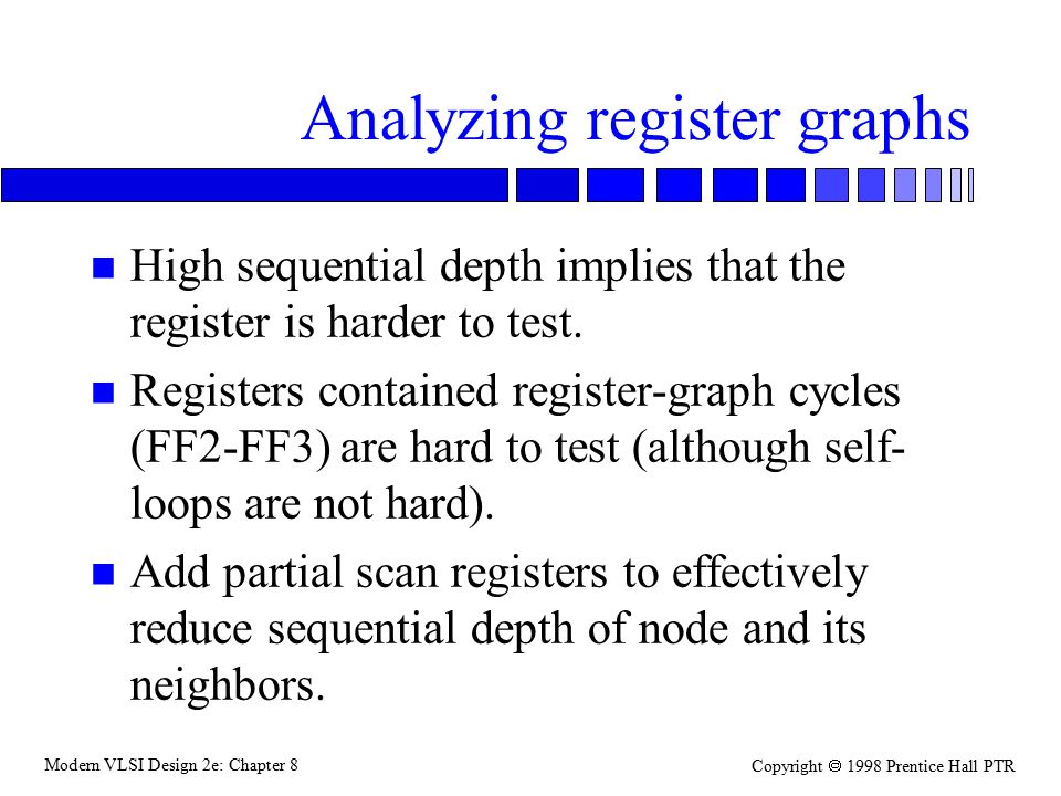 Modern VLSI Design 2e: Chapter 8 Copyright  1998 Prentice Hall PTR Analyzing register graphs n High sequential depth implies that the register is harder to test.
