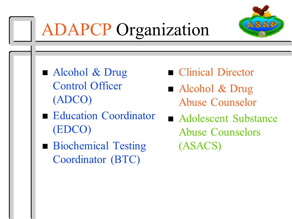 ADAPCP Organization n Alcohol & Drug Control Officer (ADCO) n Education Coordinator (EDCO) n Biochemical Testing Coordinator (BTC) n Clinical Director n Alcohol & Drug Abuse Counselor n Adolescent Substance Abuse Counselors (ASACS)