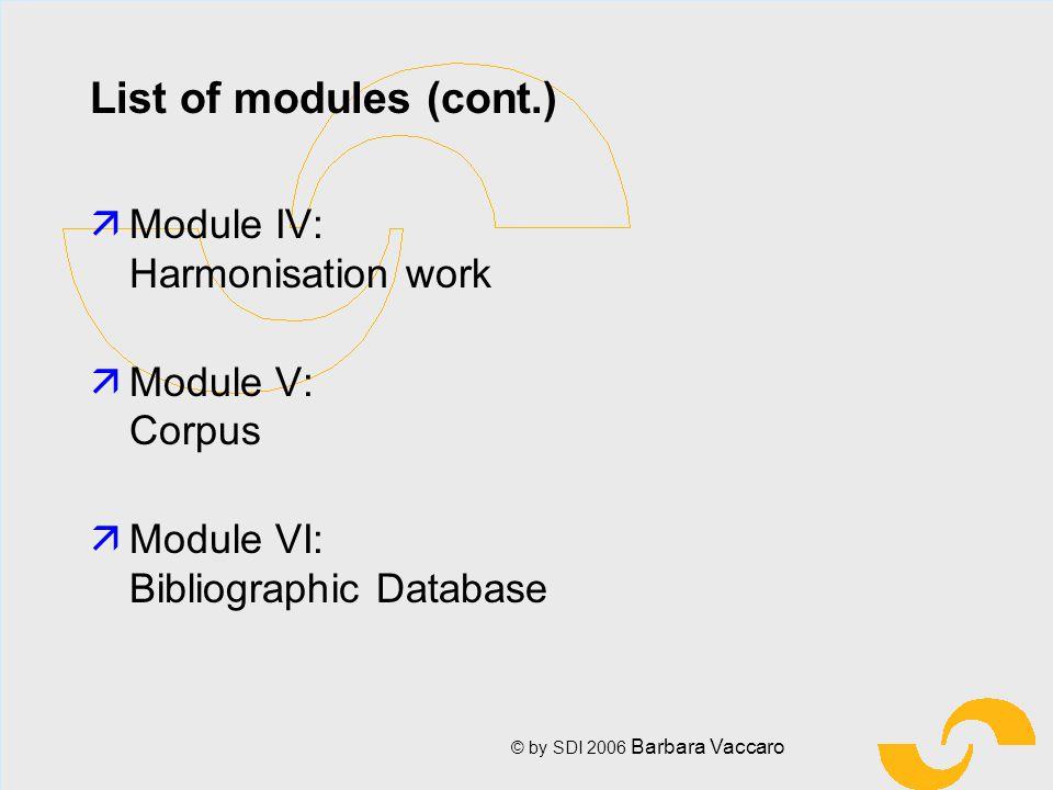 © by SDI 2006 Barbara Vaccaro List of modules (cont.) ä Module IV: Harmonisation work ä Module V: Corpus ä Module VI: Bibliographic Database