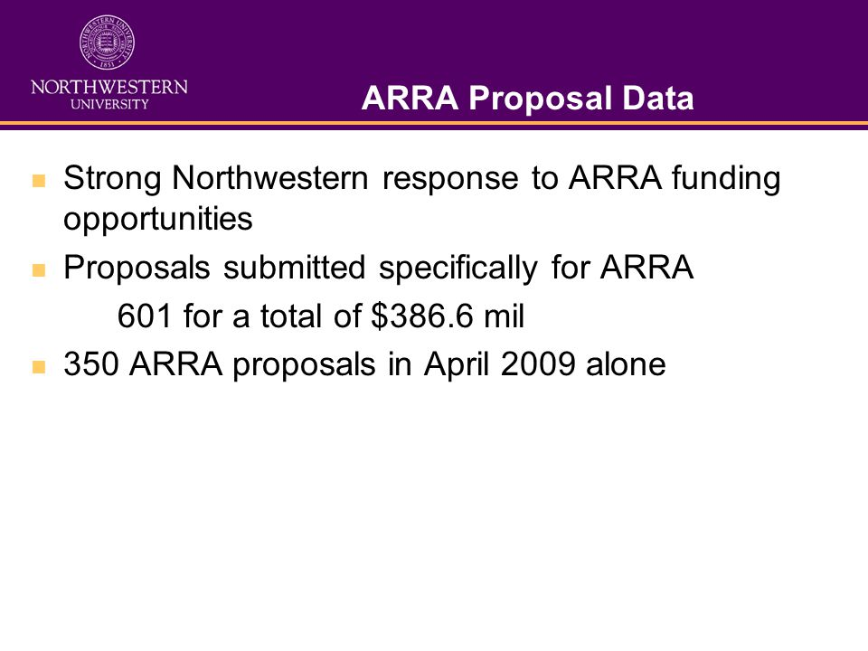 ARRA Proposal Data Strong Northwestern response to ARRA funding opportunities Proposals submitted specifically for ARRA 601 for a total of $386.6 mil 350 ARRA proposals in April 2009 alone