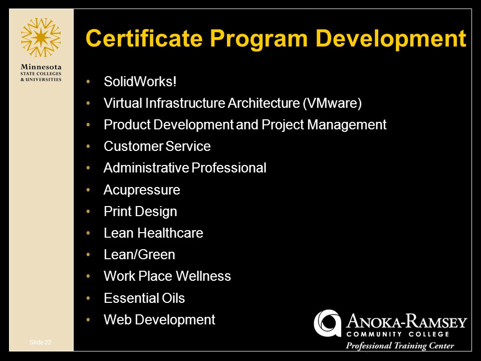 Slide 22 Certificate Program Development SolidWorks.