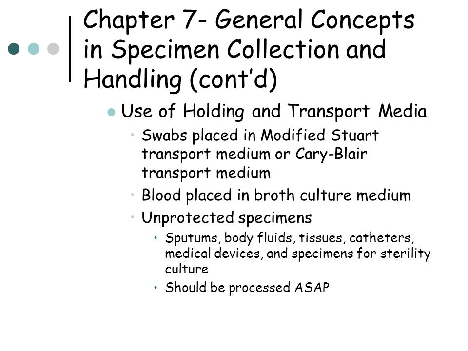 Chapter 7- General Concepts in Specimen Collection and Handling (cont'd) Storage of Specimens Urine, viral blood specimens, catheters and swabs should be refrigerated Blood and CSF should be processed ASAP Specimens for fungus cultures can be kept at room temperature Respiratory and stool cultures should be processed ASAP if at all possible, but refrigerated if immediate processing is not possible