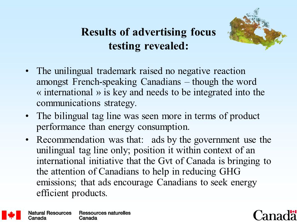 Results of advertising focus testing revealed: The unilingual trademark raised no negative reaction amongst French-speaking Canadians – though the wor