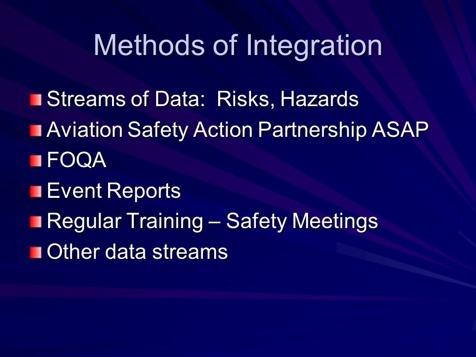 Methods of Integration Streams of Data: Risks, Hazards Aviation Safety Action Partnership ASAP FOQA Event Reports Regular Training – Safety Meetings Other data streams