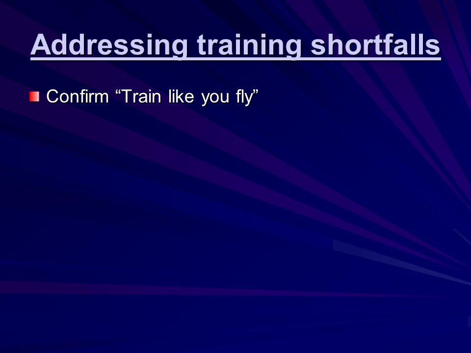 Addressing training shortfalls Confirm Train like you fly Fly like you train