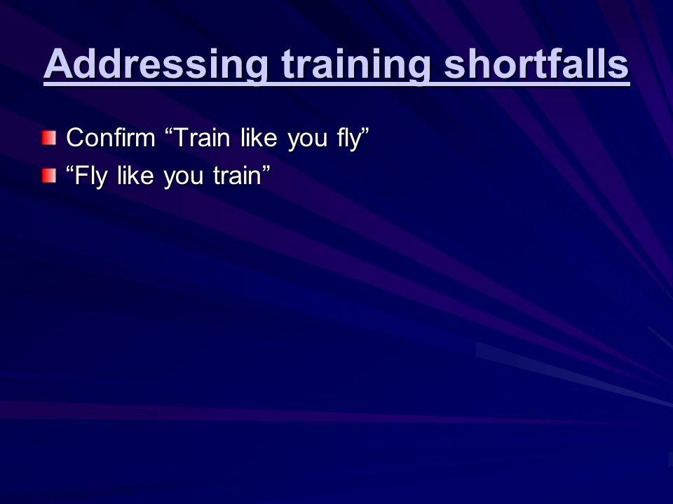 "Addressing training shortfalls Confirm ""Train like you fly"" ""Fly like you train"""