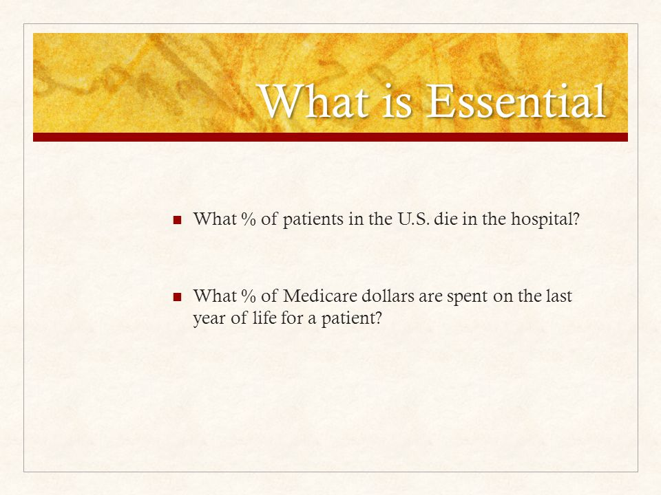 What is Essential What % of patients in the U.S. die in the hospital.
