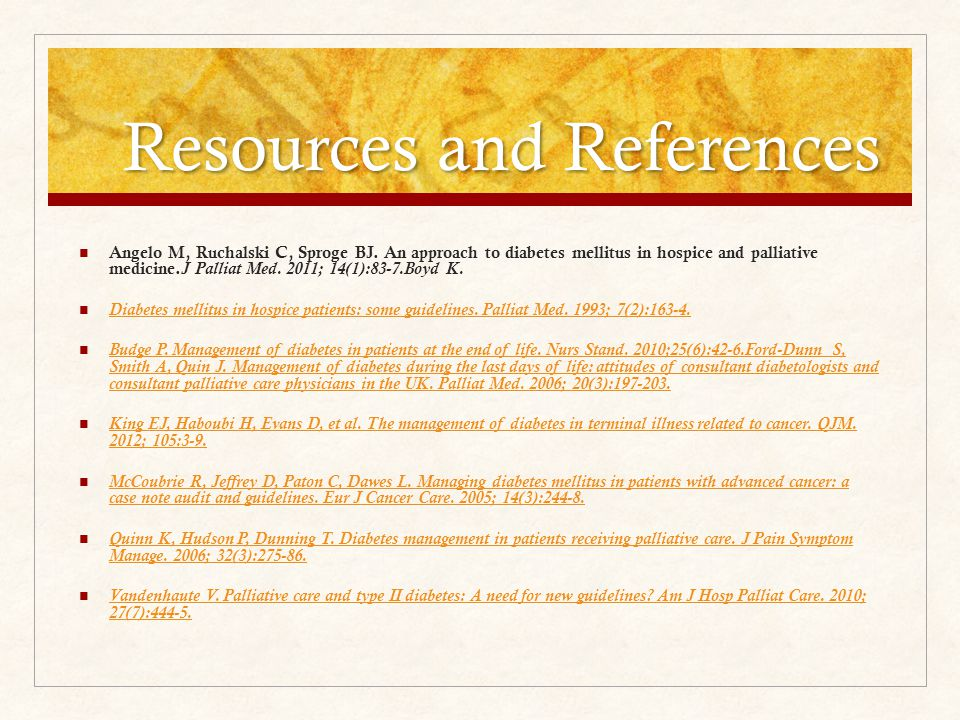 Resources and References Angelo M, Ruchalski C, Sproge BJ.