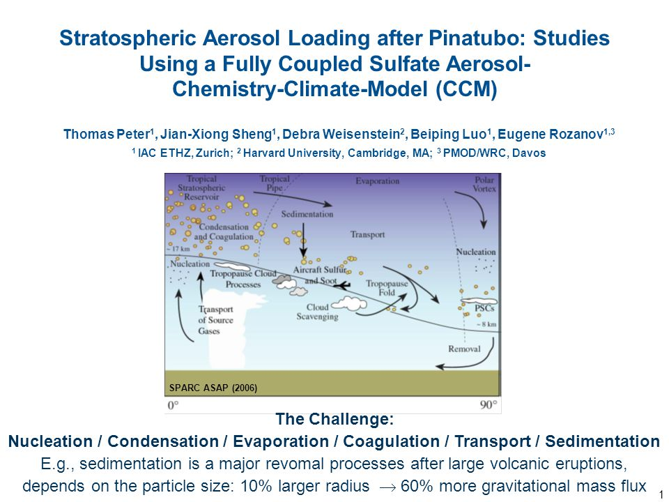 1 Thomas Peter 1, Jian-Xiong Sheng 1, Debra Weisenstein 2, Beiping Luo 1, Eugene Rozanov 1,3 1 IAC ETHZ, Zurich; 2 Harvard University, Cambridge, MA; 3 PMOD/WRC, Davos Stratospheric Aerosol Loading after Pinatubo: Studies Using a Fully Coupled Sulfate Aerosol- Chemistry-Climate-Model (CCM) The Challenge: Nucleation / Condensation / Evaporation / Coagulation / Transport / Sedimentation E.g., sedimentation is a major revomal processes after large volcanic eruptions, depends on the particle size: 10% larger radius  60% more gravitational mass flux SPARC ASAP (2006)